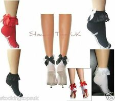 ANKLE SOCKS WITH FRILL & SATIN BOW 5 COLOUR VARIATIONS