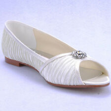 US 5-10 Pleated Silk flat ballet slip on bride wedding dress White womens shoes