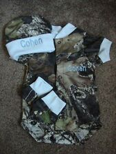 Personalized Mossy Oak Camo Camouflage 3PC Baby Infant Newborn Set Boy Blue