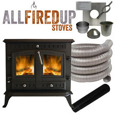 12kW Cast Iron Wood Burning Multi Fuel Stove+Complete Flexible Flue Lining Kit
