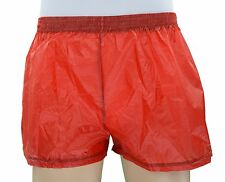 Mens Red Rip-Stop Parachute Nylon Square Cut Shorts, Gym Soccer, Aussie Made