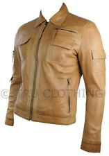 Mens Urban Vintage Short Saints Style Retro Leather Jacket Tan Brown Fitted Casu