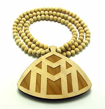 "Wooden Maybach Music Pendant  36"" Chain Necklace Good Wood Style Rick Ross MMG"