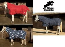 Rhinegold Full Neck Combo Medium/Heavy weight Stable Rug/Quilt. Star, Navy, Red.