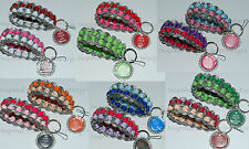 "Upcycled Soda Pop Can Pull Tab Wristlet Bracelet Keychain Key FOB 1"" Bottle Cap"