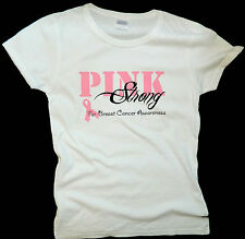 Breast Cancer Awareness PINK STRONG Missy Fit T-Shirt S-3XL PINK ribbon