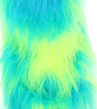 LONG PILE FAUX FUR - COW FLO UV YELLOW  TURQUOISE - VARIOUS SIZES