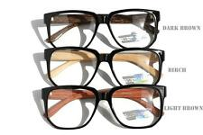 Large Round brown wood frame clear lens Sun-Glasses Optical RX Eyeglasses Nerd
