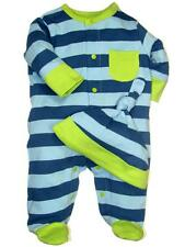 Boys Infant Baby Stripe Footie Long Sleeve Sleepwear Pajama w/Hat by Offspring