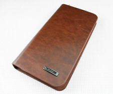 men's coffee multifunction Leather rectangle Wallet Credit Case Purse Billfold