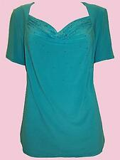 ex-Ann Harvey Gorgeous Teal Drape Neck Glitter Top in  Size 1-2-3-4 18 to 32 NEW