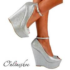 LADIES SILVER SUPER GLITTERY PEEP TOE WEDGE HEELS SHOE SANDAL EVENING PARTY 3-8