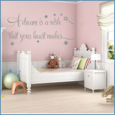 *A DREAM WISH BABY GIRLS ROOM BEDROOM KIDS - Wall Quote Sticker -  Art Decor