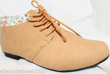 Easy Street Style Oxfords Casual Ankle Boots Flats Tan Brown LaceUp Womens Shoes