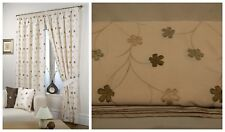 CREAM TAFFETA LINED PAIR OF CURTAINS STUNNING EMBROIDERED FLOWERS + TIE BACKS