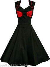 VTG 50s ROCKABILLY BLACK BOWS SWING KITSCH PARTY PIN UP TEA PROM DRESS 8-18