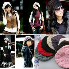 New Chic Warm Winter Women Beret Braided Baggy Knit Crochet Beanie Hat Ski Cap