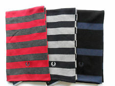 FRED PERRY Scarves Bold Stripe Wool Mix Red/Charcoal,Navy/Grey,Blue/Black