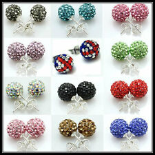 SHAMBALLA EARRINGS CZECH CRYSTAL DISCO CLAY BALL STUD EARRING BRACELET 8MM SALE