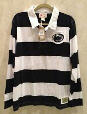 NEW Mens XL IZOD Penn State University L/S Navy Blue White Stripe Rugby Shirt