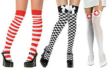 Ladies Striped Chequred Heart Sailor Bow Stockings Tights Thigh High Hold Ups
