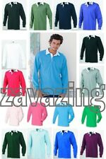 LONG SLEEVE RUGBY SHIRT CONTRAST COLLAR 16 COLOURS S-3XL POLO -  QUALITY STYLISH