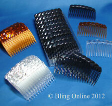 12pc PACK OF BUDGET HAIR SLIDE GRIP COMBS 7cm TORT BROWN BLACK OR CLEAR PLASTIC