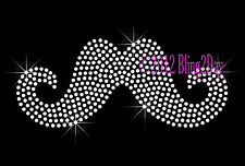 Clear Mustache - Rhinestone Iron on Transfer Hot Fix Bling Cancer