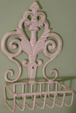 Shabby Chic Vintage Wall Mounting Metal Fleur De Lys SOAP DISH in Cream or Black