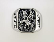 Mens Greek Key Eagle Signet Ring Stainless Steel