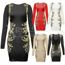 NEW WOMENS LADIES GOLD PRINT LONG SLEEVED V BACK DRESS BODYCON DRESSES TUNIC TOP