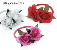 DOUBLE ROSE HAIR BAND PONIO ELASTIC BOBBLE PONY TAIL HAIRBAND RED PINK OR WHITE