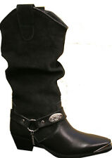 Ladies Black Genuine Leather & Suede Western Rodeo Cowboy Cowgirl Boots