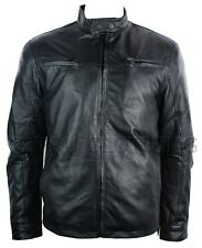 Mens Leather Jacket Vintage Saints Biker Style Black Soft Retro Zipped