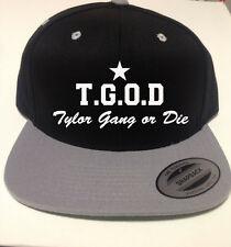 Taylor Gang or Die Snapback Hat Stitched front of hat