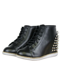 Jeffrey Campbell Edea Spike Womens Wedge Hi Top Trainers Black