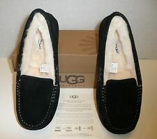 Ugg Ansley black suede women's moccasin shoes NIB