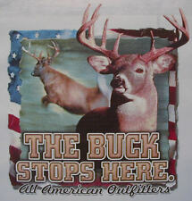 ALL AMERICAN OUTFITTERS THE BUCK STOP HERE DEER HUNTER SHIRT #402