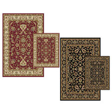 Traditional Persian Two Pieces Area Rug Oriental Floral Vines Border Scatter Set