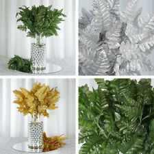 12 Bushes Leather Fern Greenery for Wedding Centerpieces Bouquets Filler Leaves