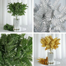 216 Leaves Leather Fern Greenery Branches - 18 bushes for Wedding Decorations