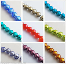 16pcs 14mm Round Lampwork Silver Foil Inside Glass Spacer Beads Multicolor