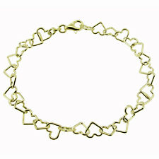 "9ct Gold Plated On Sterling Silver Heart Link Chain Charm Bracelet 6.5"" 7"" 7.5"""