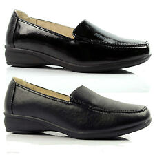 Womens Ladies Flat Wedge Leather Lining Wide Fit Comfort Soft Work Shoes Size