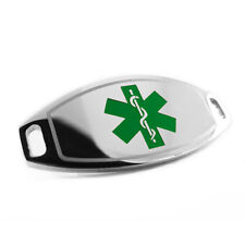 Engraved FREE Green Medical ID Plate Tag, Attach to Medical Beaded Bracelet i1C