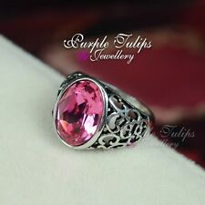 Vintage Style 18K White Gold Plated Pink Made With SWAROVSKI Crystal Ring
