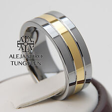Tungsten Ring Comfort Wedding Anniversary Band 8MM Gold Inlay Size 6 to 14