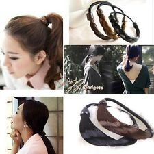 Fashion  Faux Wig Hair Band Stretch Straight  Hairpiece Ponytail Holder Headband