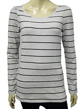 Womens H&M T-Shirt Top Long Sleeve Grey - Black Stripes Size 8 to 14 A17