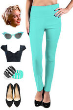 50s Style Bengaline Lt AQUA High Waisted PINUP PENCIL Skinny Pants w/Side Zipper